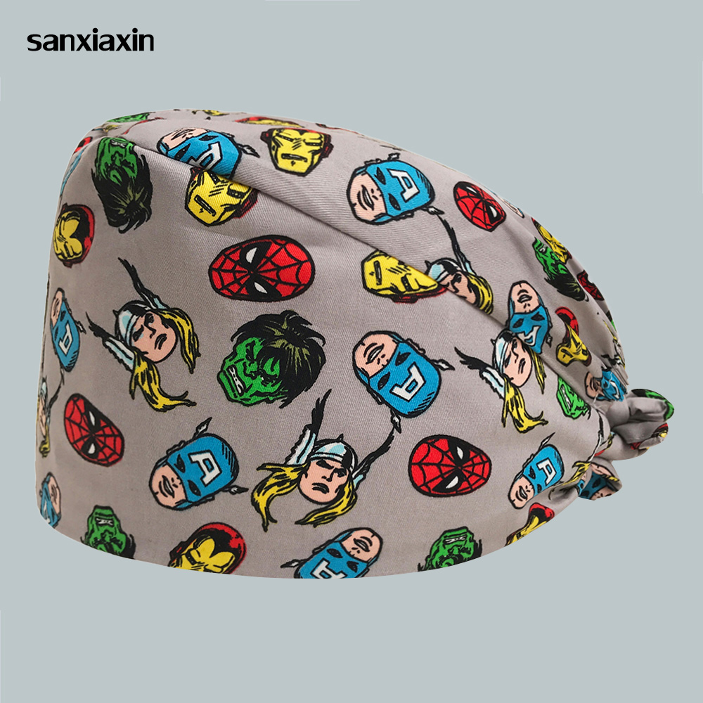 2019 Women Surgical Caps For Nurses Pattern Operating Room Surgery Scrub Hats Back Surgeon Hat Nurse Medical Surgery Working Hat