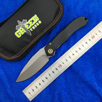 Green thorn Anax Flipper folding knife D2 blade Titanium handle outdoor camping hunting pocket fruit knive EDC tool