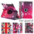 cover For apple iPad Air 2 ipad 6 case Luxury 360 Rotating PU Leather Flower pattern Printed Tablet Case Stand Protective Cover