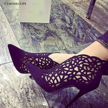 TTSDARCUPS New hollow-out high-heeled boots Pointed Toe Sexy Flock Nightclub Gladiatus pumpss Plus Size 35-40