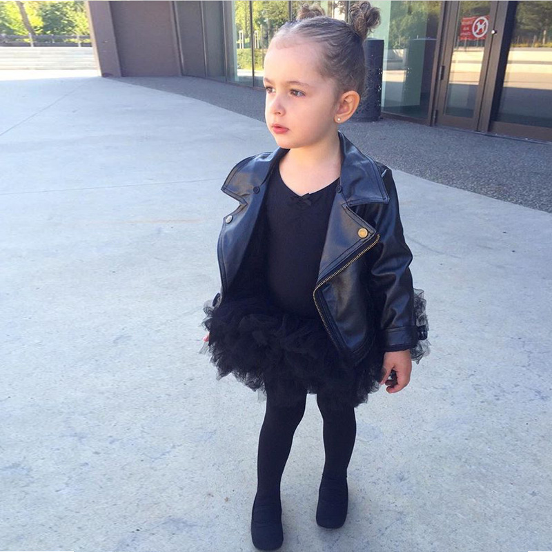 LILIGIRL Girls PU Leather Jacket Coat for Kids Black Lapel Tops Clothes Outwear