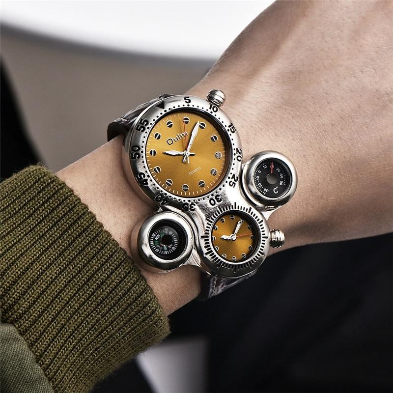 Мужские часы Oulm, спортивные, кварцевые, с кожаным ремешком, декоративные, с компасом, термометромКварцевые часы   -