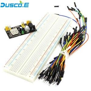 3.3V/5V MB102 prototyp zasilanie płytki prototypowej moduł MB-102 830 punktów płytka prototypowa bez lutowania 65 elastyczny kabel mostkujący do zestawu Arduino