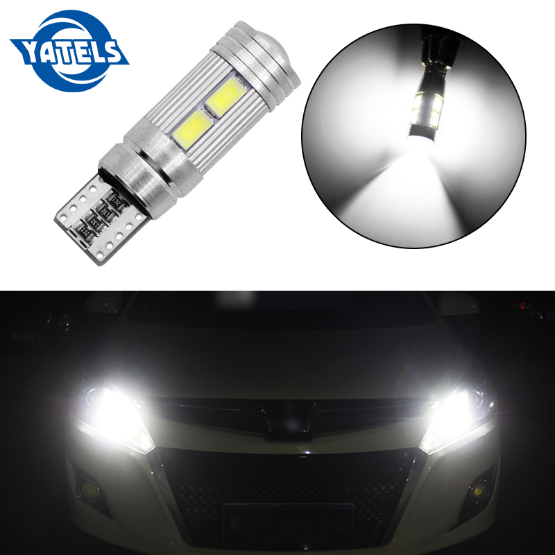<font><b>T10</b></font> <font><b>10</b></font> <font><b>SMD</b></font> 5630 LED Projector Lens Auto Clearance Lights W5W 501 10SMD 5730 LED Car Marker Lamp Parking Bulb Canbus Error Free image