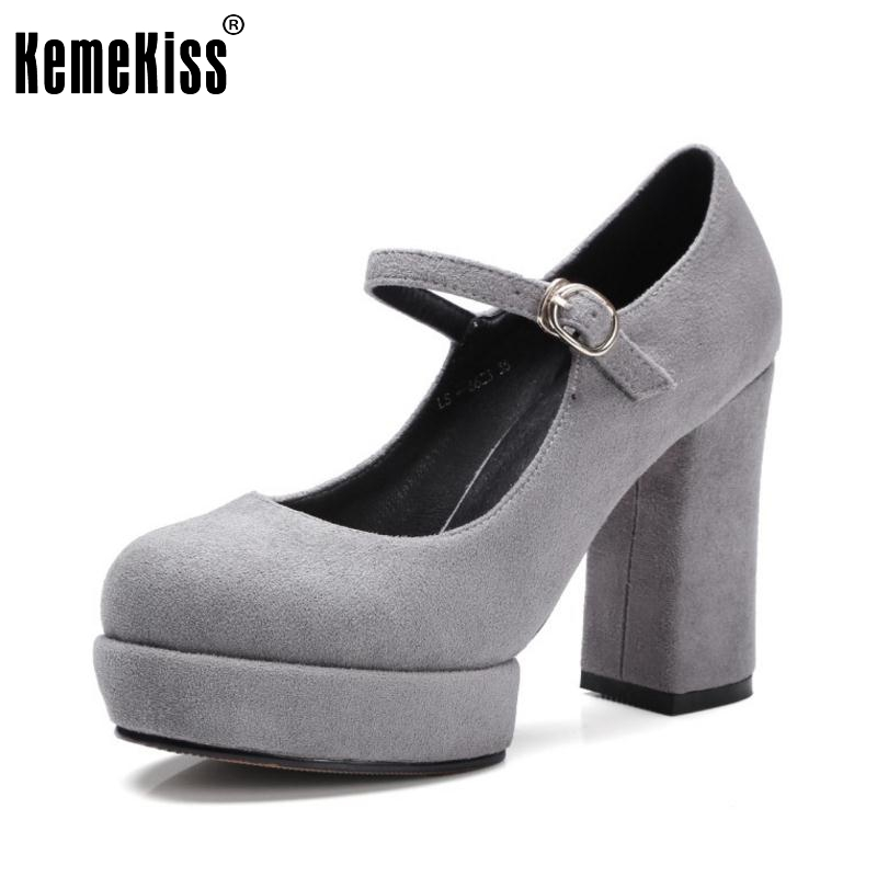 Size 32-42 Ladies High Heel Shoes Women Ankle Strap Platform Pumps Round Toe Square Heels Fashion Office Party Zapatillas Mujer fashion spring platform thick heel ladies shoes ultra high heels ankle strap women pumps glitter slip on dress wedding pumps