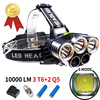 5 Led Head Torch Rechargeable Headlamp 10000LM XML 3T6 2Q5 Waterproof Zoomable Black Headlight Battery Charger