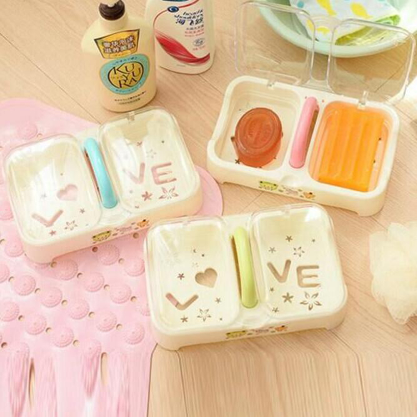 1 Pc Plastic Soap Dish With Cover Double Cells Storage Box Handle Container Waterproof H ...