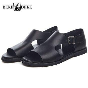Summer Men Sandals 2019 New Real Leather Gladiator Sandals Buckle Strap Open-toed Beach Slippers Mens Breathable Antiskid Slides