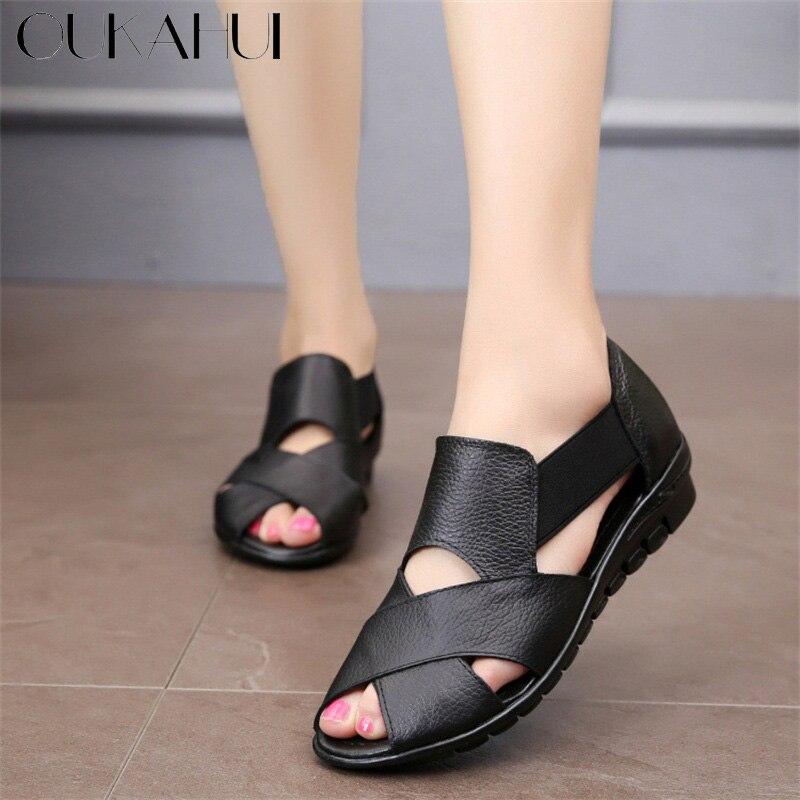 Oukahui Comfort Sandals Wedge Heel Women Shoes Gladiator Genuine-Leather Brand Feminina