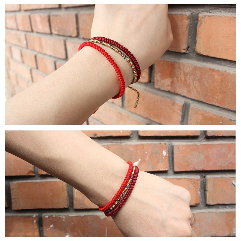 Chinese Lucky Red String Bracelet Men Women Tibetan Buddha Prayer Handmade Yoga Prayer Rope thread Bracelet Adjustable Size