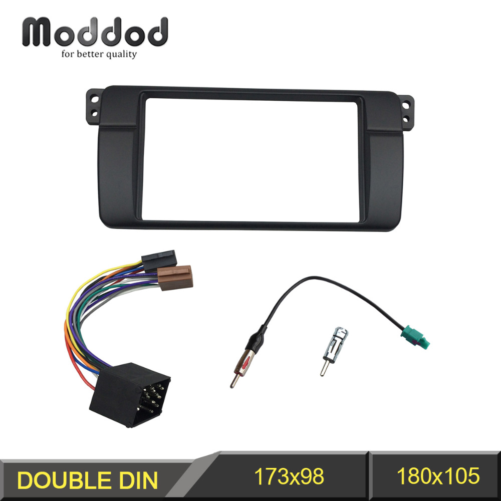 Double Din Fascia för BMW 3-serie E46 1998-2005 Radio Dash Mount Trim Kit Frame ISO Wiring + Antenna Adapter