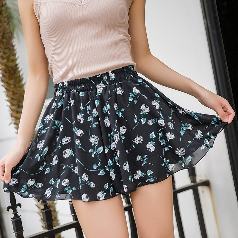 Chiffon Fashion Casual Shorts Women Summer Sexy Short Pants Women's Print Floral Loose Chiffon Shorts Plus Size