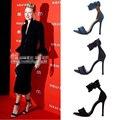 Sandálias das Mulheres QUENTES de Verão 2017 Europeu Mulheres Denim Sapatos de salto alto com Tira No Tornozelo Sandálias gladiador Das Mulheres Tamanho Grande Preto/azul