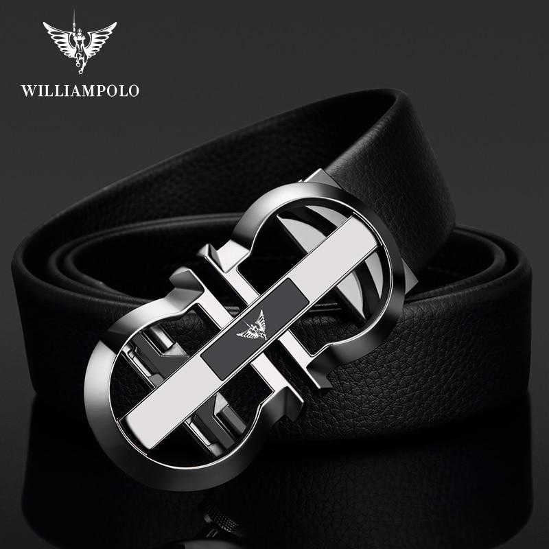 Image 5 - Williampolo Luxury Brand Designer Leather Mens Genuine Leather Strap Automatic Buckle Waist Belt Gold Belt PL18335 36P SMTMens Belts   -