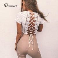 DRESSMECB Deep V Neck Cropped T Shirt Women Tees Tight Sexy Lace Blusa T Shirt 2017