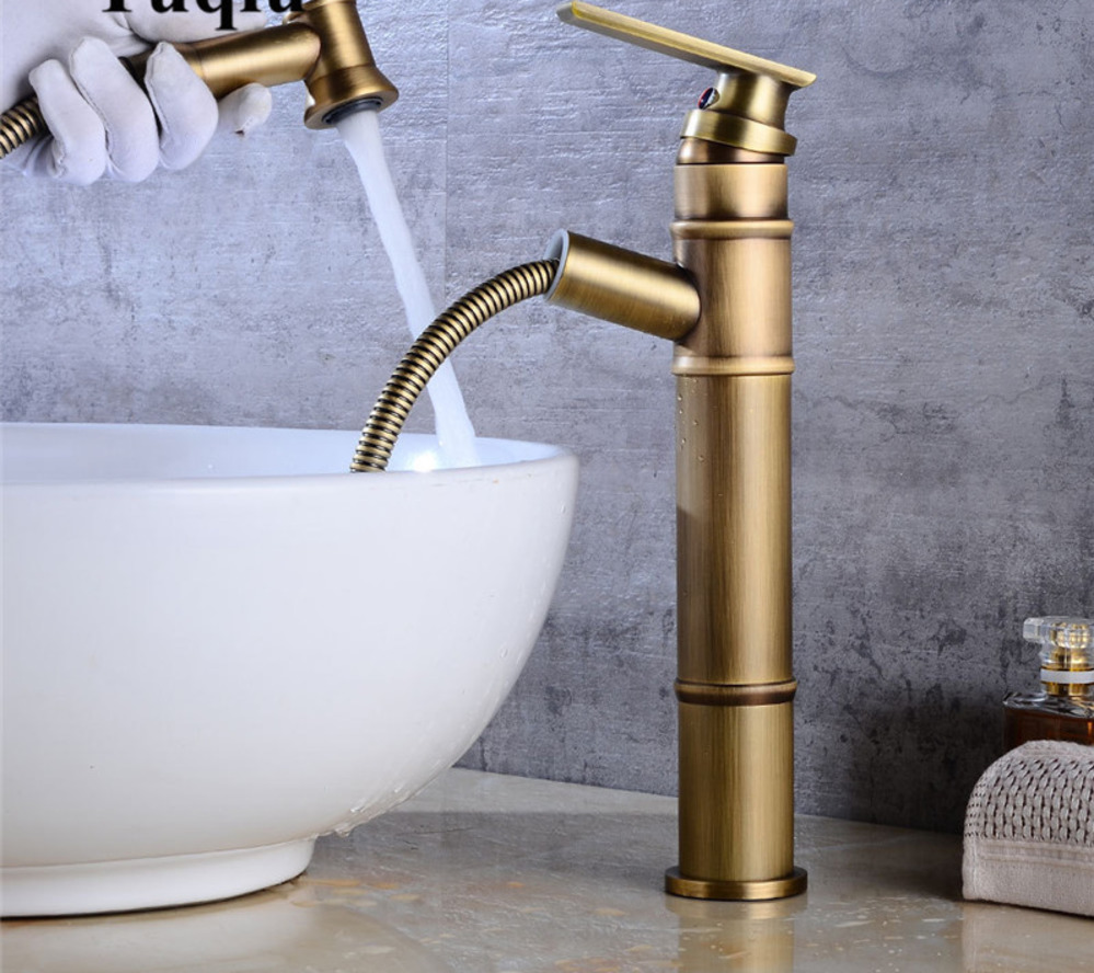 Basin Faucet with Hand Shower Head Antique pull out laundry faucet Sink Faucet water tap for bathroom with extensible spoutBasin Faucet with Hand Shower Head Antique pull out laundry faucet Sink Faucet water tap for bathroom with extensible spout