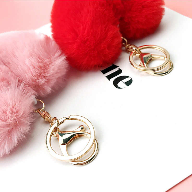 Coração da moda Fofo Faux Pele De Coelho Pompom Bola Pom Pom Keychain Chaveiro Mulheres Saco Encantos Acessórios Trinket Chaveiro Llavero