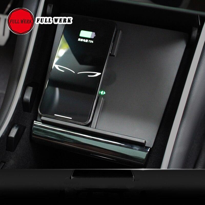 1 pièce mise à jour double chargeur de téléphone de voiture sans fil USB pour Tesla modèle 3 carte de charge de contrôle Central support de plaque de charge rapide