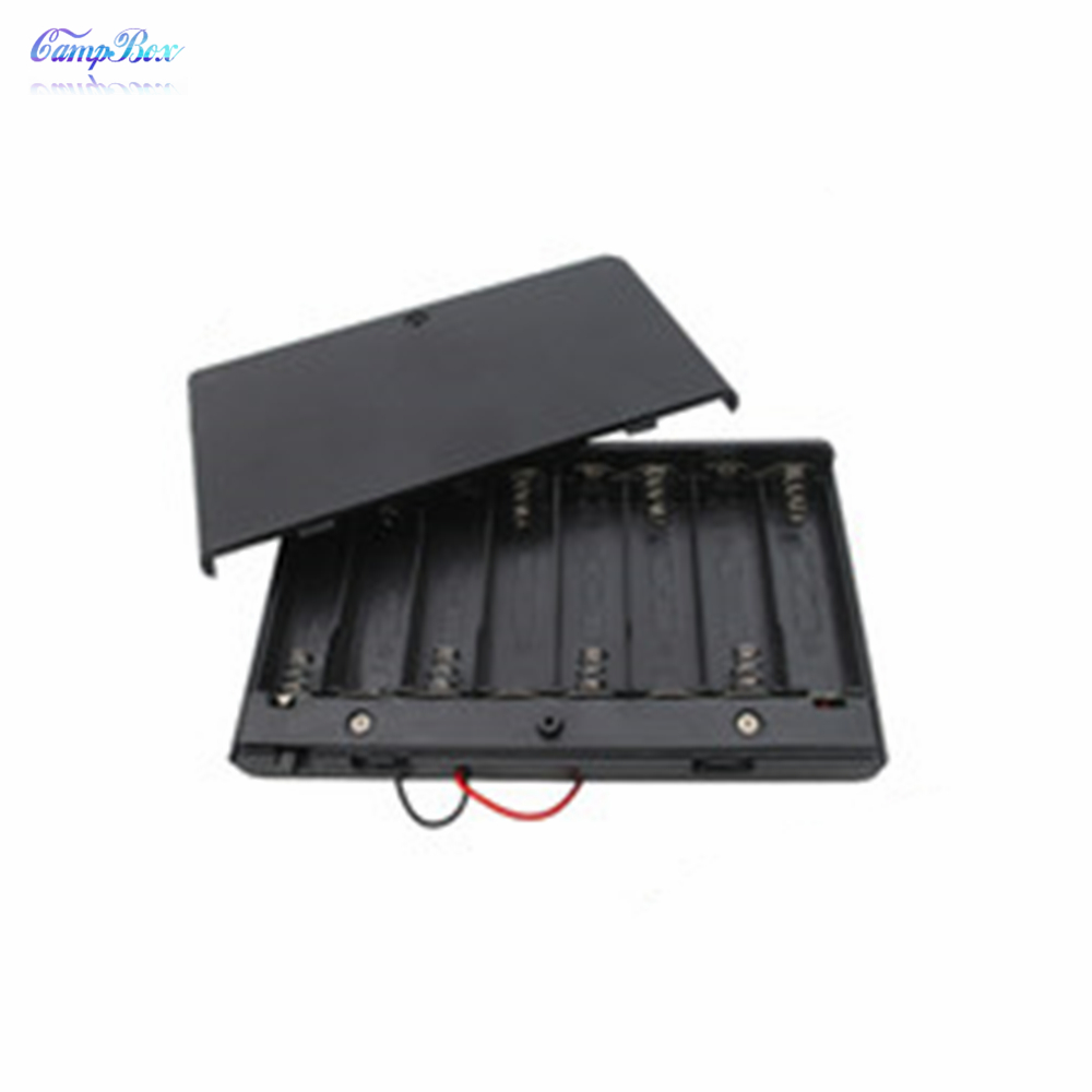 1Pcs 8xAA Battery Case Holder Socket Wire Junction Boxes With Wires Switch Cover