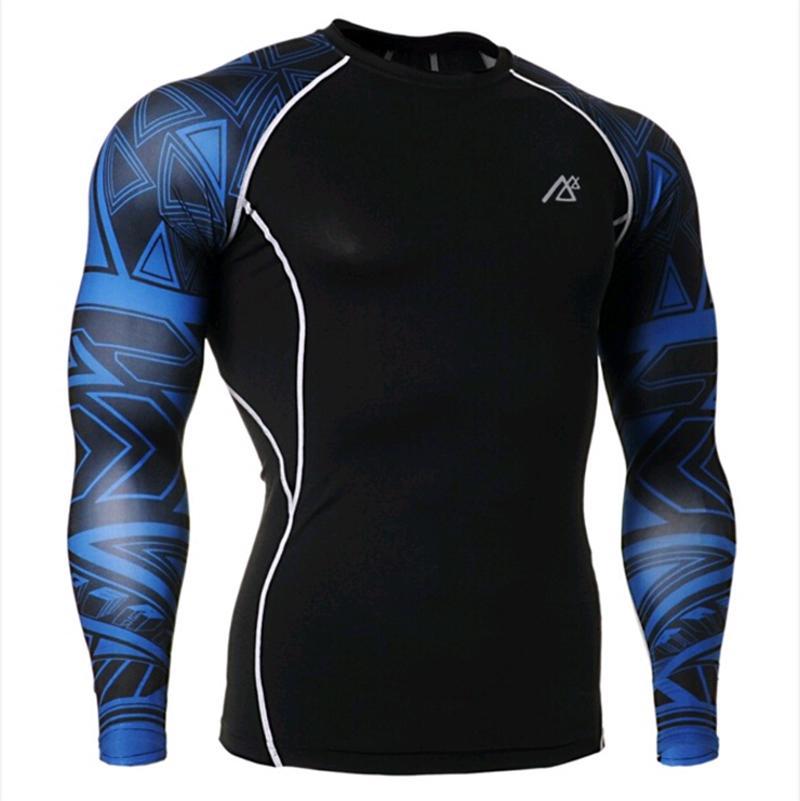 Mens Compressie Shirts + Broek Sets Trainning Gym Running MMA Gewichtheffen Fitness Huid Strakke Basis Lagen Set - 2