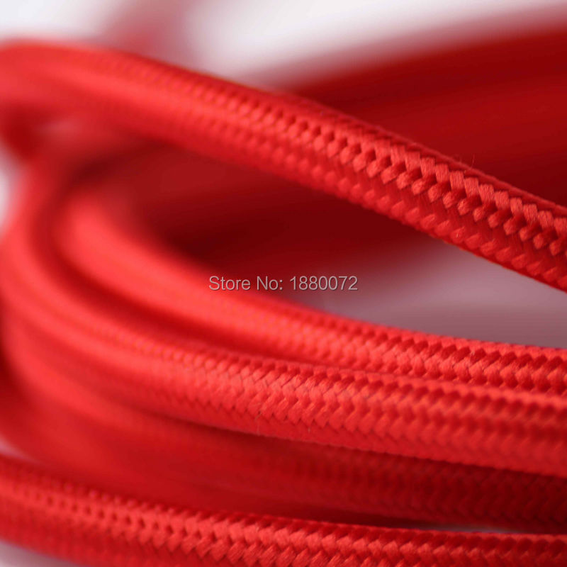 Free shipping Colour vintage style lamp cord Retro fabric braided cable 2*0.75MM