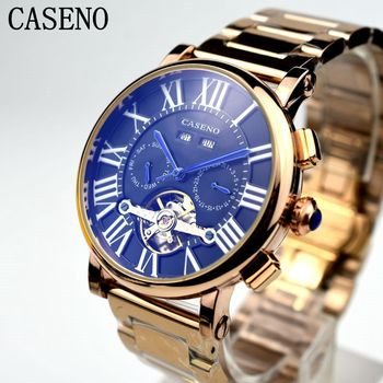 Hot CASENO Tourbillon Rome Mens Watch Brand Luxury Full Steel Men Mechanical Automatic Watch Classic Men Skeleton Male Clocks 機械 式 腕時計 スケルトン