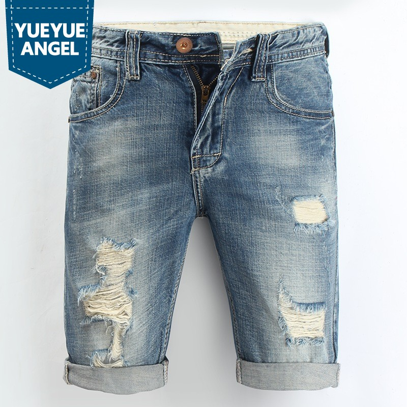 Casual Men Shorts Summer Fashion Knee-Length Straight Vintage Casual Male Denim Trousers Hole Ripped Jeans Man Plus Size