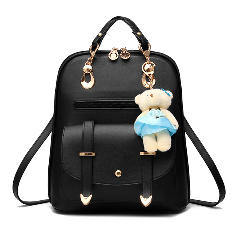Women Backpacks Leather Backpacks Bolsas Mochila Feminina Large Girls Schoolbag Female Travel Backpack Solid Candy Color  new women leather backpack black bolsas mochila feminina girl schoolbag travel bag solid candy color green pink beige