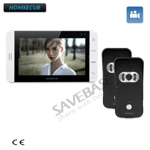 HOMSECUR 2C1M 7 Hands-free Video&Audio Home Intercom+White Monitor+Black Camera