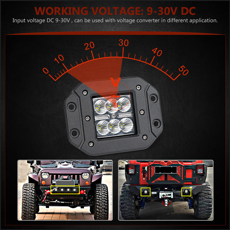 Image 3 - 18W Car Headlight LED Work Light Bar Spotlight for Off Road ATV UTV Kamaz UAZ 4x4 car boat Auto Driving Fog Light Car StylingLight Bar/Work Light   -