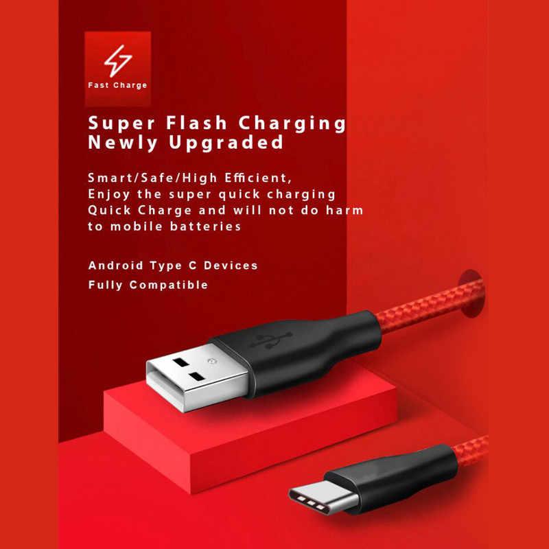 USB نوع C كابل الهاتف لسامسونج S9 USB C كابل ل شاومي Redmi نوت 7 mi9 شحن سريع سلك USB-C كابل شاحن الهاتف المحمول