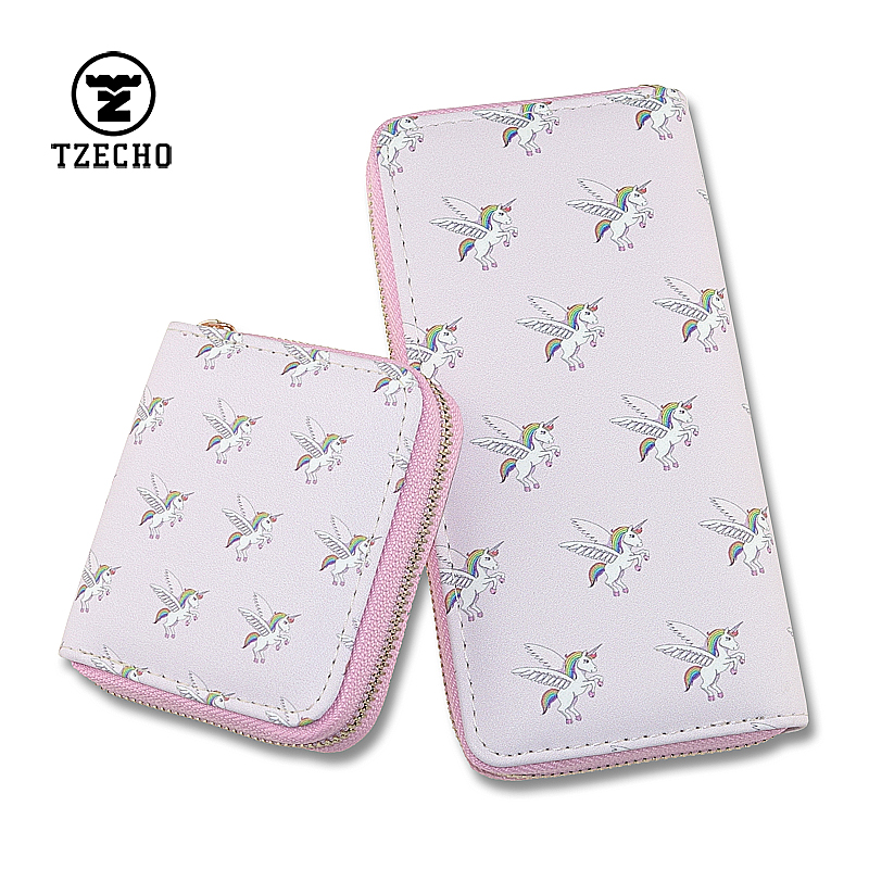 TZECHO Credit Card Wallet for Women Print Cartoon Unicorn Ladies Long Zipper Purse with Iphone 6 7 8 Plus Teen Girls Gift