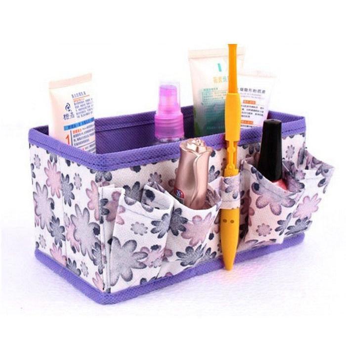Folded Bag Organizer Makeup Cosmetic Storage Box Bag Maleta De Maquiagem Profissional Bag Foldable Container#121 multifunctional car storage box container beige