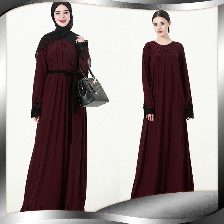 Women Embroidery Solid Polyester Plus Size Dress Muslim Abaya Costumes Turkish Kaftan Islamic Eid Ramadan Clothing Robe