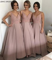 Best Shining Rhineston V Neck Bridesmaid Gowns Peach/Ivory/Champagne/Silver/Coral/Burgundy/Pink Bridesmaid Dresses Fast Shipping
