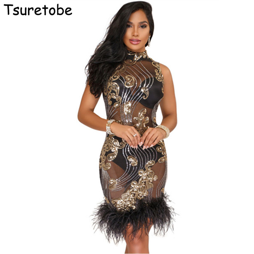 Tsuretobe New Fashion Sexy Sequin Feather Dress Women Evening Party Club  Dresses See Through Bodycon Mesh 5cf74ce44f49
