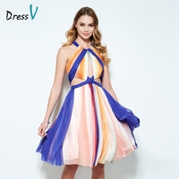 Dressv halter A-Line in ấn homecoming dress không tay nếp gấp knee-length sexy hollow tốt nghiệp váy ngắn & homecoming dress
