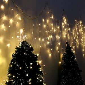 Image 4 - Weihnachten Lichter Outdoor Dekoration 5m Droop 0,4 0,6 m Led Vorhang Eiszapfen Lichterketten Garten Xmas Party Dekorative lichter