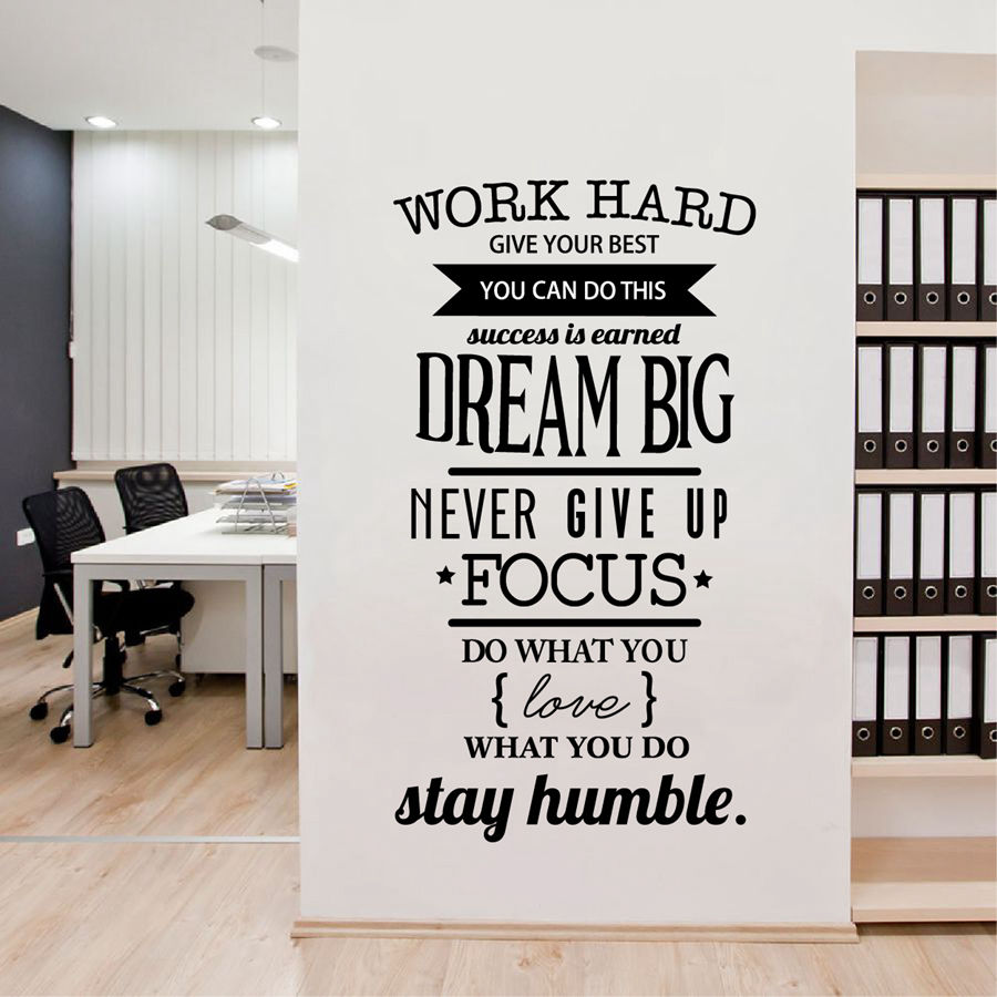 Office motivational quotes wall sticker never give up work for Office interior design quotes