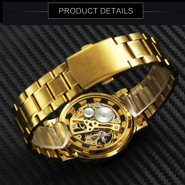 2018 WINNER Top Brand Luxury Classic Mechanical Watch Men Skeleton Dial Fashion Business Wedding Gift Golden Unisex Wristwatches