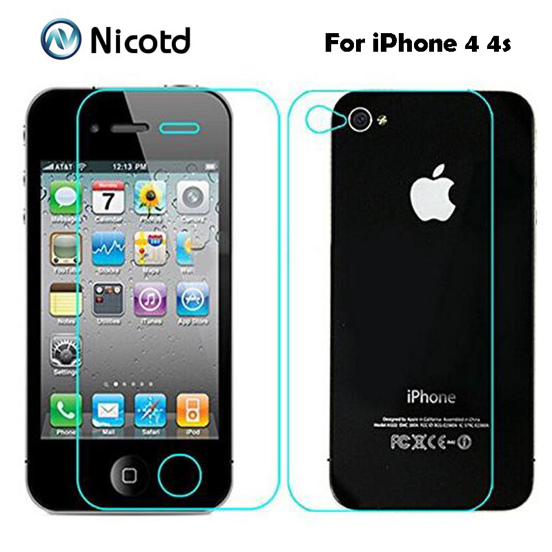 Back Screen-Protector-Film Tempered-Glass Front iPhone 4s for 4-Anti-Explosion 2pcs/Lot