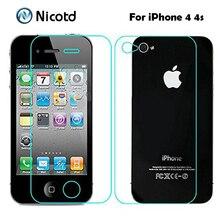 2 adet/grup 0.3mm 2.5D için Ön ve Arka Temperli Cam iPhone 4 s 4 Anti patlama Koruyucu Ekran koruyucu Film iPhone 4 Için