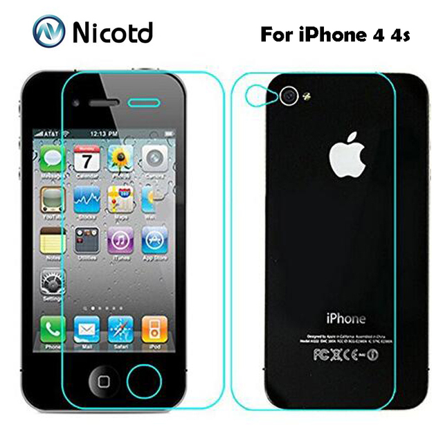 2Pcs/Lot 0.3mm 2.5D Front and Back Tempered Glass for iPhone 4s 4 Anti Explosion Protective Screen Protector Film  For iPhone 4