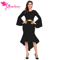 Dear Lover Asymmetrical Mermaid Hem Dresses Office Ladies Autumn Winter Long Bell Sleeve Dip Belted Dress Vestidos Mujer LC61802