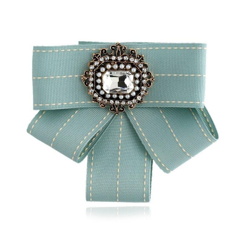 DIEZI New Fashion Women Men Brooches Ribbon Big Gem Stone Bowknot Shirts Bow Tie Pins Collar Accessories Fashion Jewelry