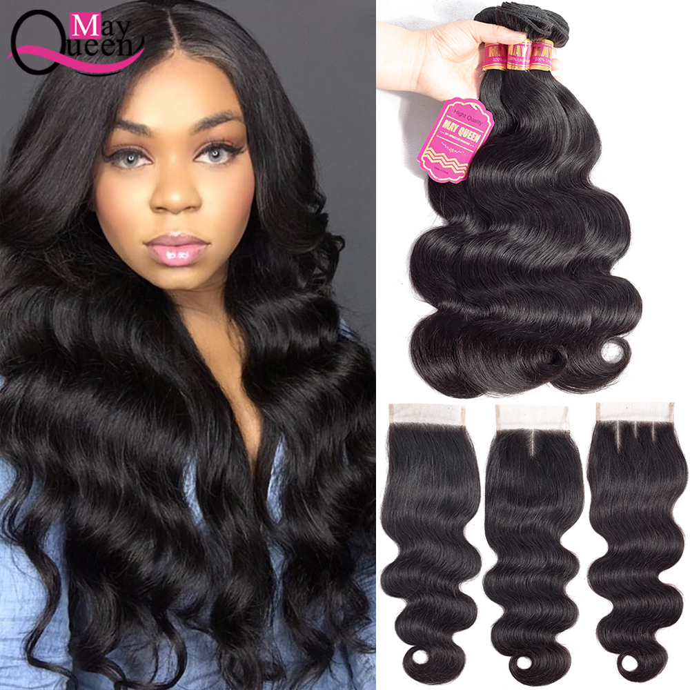 May Queen Body Wave Human Hair Bundles With Closure 3 Bundles Natural Black Color Non Remy Brazilian Hair Weave