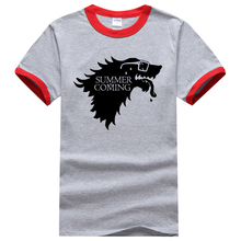 Novelty Men T-Shirts Game Of Thrones Summer Is Coming Printed T Shirt 2017 Summer 100% Cotton Ringer T-Shirt Men Brand-Clothing