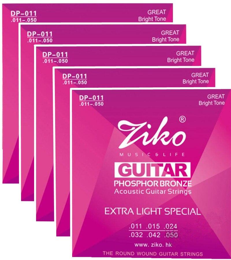 5 set/lote ZIKO 011-050 guitarra acústica cuerdas instrumentos musicales accesor