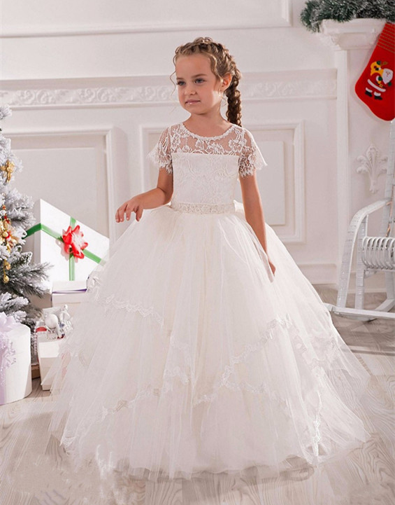 White Ivory Illusion Neck Lace Tulle Floor Length Flower Girl Dress for Wedding Short Sleeves with Belt Girls Communion Dress vintage lace flower bowknot wedding dress with sleeves