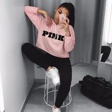 Women Oversized Hoodies Jumper Sweatshirt Female Pink Croppe